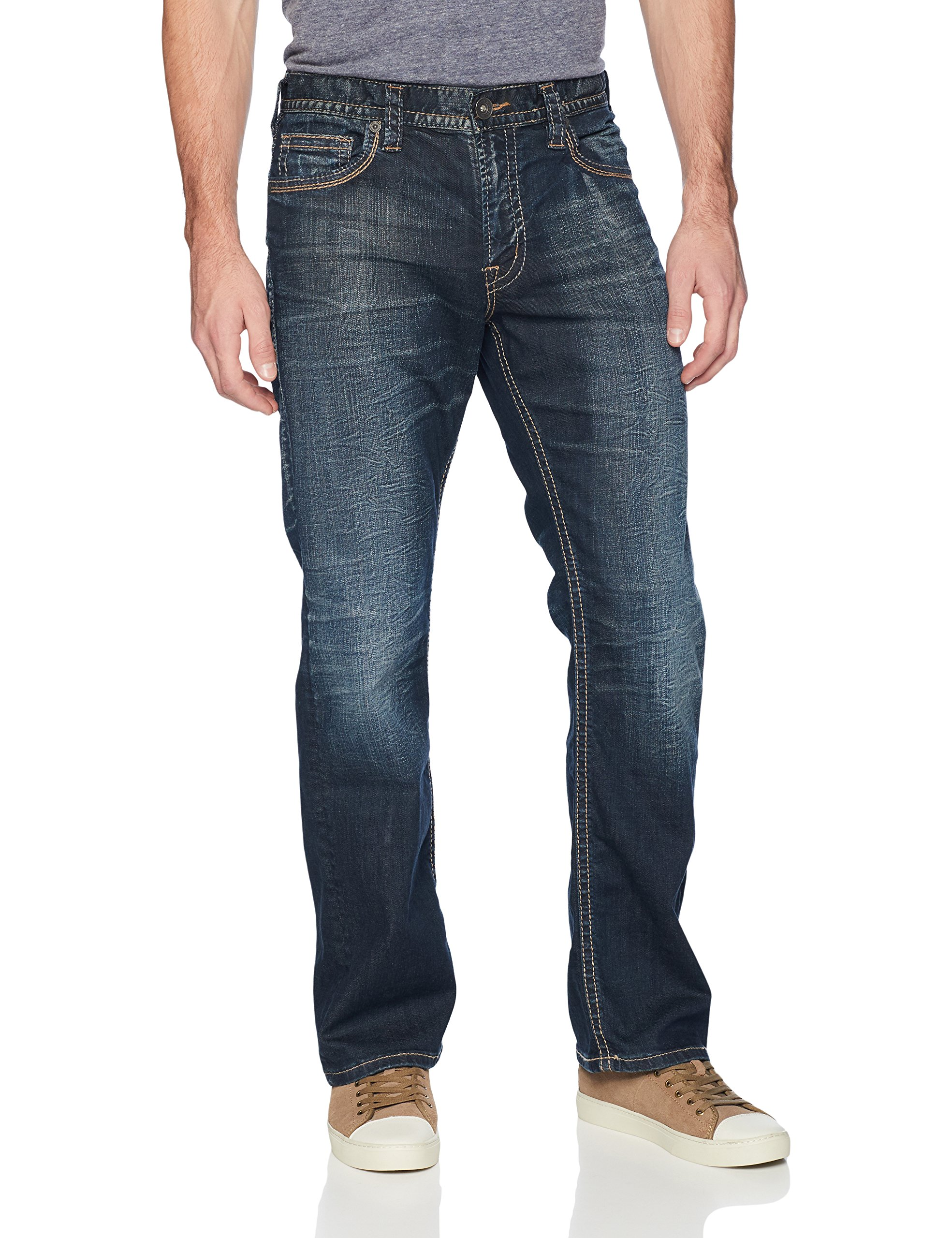 Silver Jeans Men's Zac Relaxed Fit Straight Leg Jeans Pants, Dark Hand Sand, 33x34