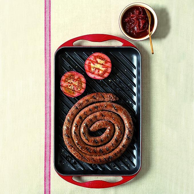 Le Creuset - Parrilla Grill Rectangular de hierro colado esmaltado, 33cm, color cereza