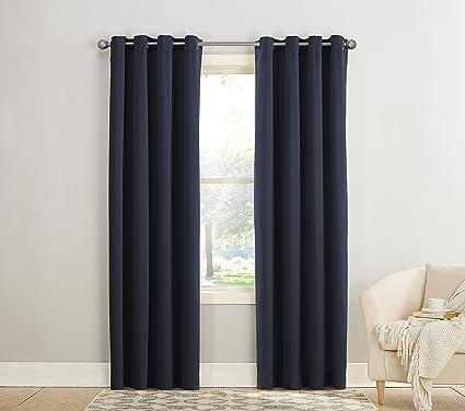 Sun Zero Barrow Energy Efficient Grommet Curtain PanelNavy Blue54quot