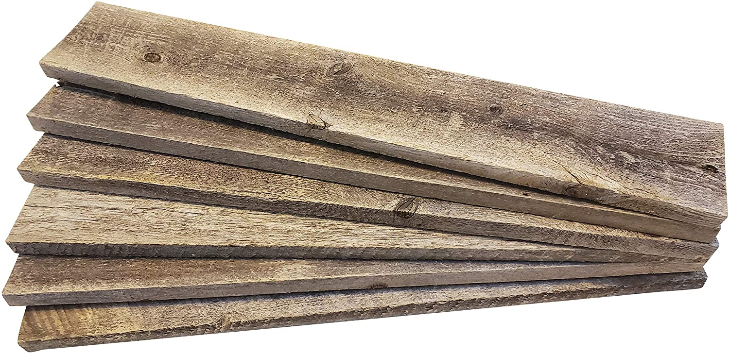 """Rustic Weathered Reclaimed Wood Planks for DIY Crafts, Projects and Decor (6 Planks - 24"""" Long)"""