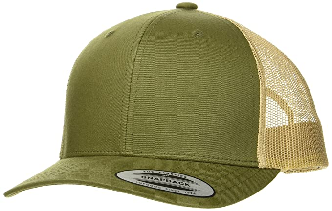 a3f0b6eaf90a72 Image Unavailable. Image not available for. Color: Flexfit Yupoong Classics Retro  Trucker 2 Tone Olive Khaki Snapback Cap Curved