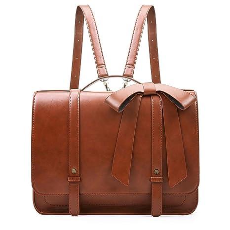 33f5bf1f2facf ECOSUSI Damen Umhängetasche Vintage Aktentasche mit Abnehmbarer Schleife  Laptoptasche 14