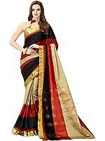 Glory Sarees Poly Cotton Saree (Jari101_Multi Color)