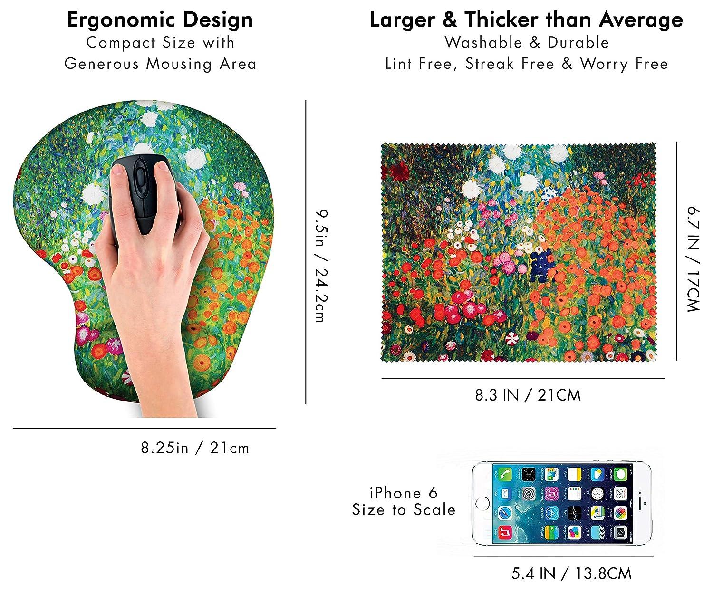 Repose mains gel Chiffon de nettoyage en microfibre assorti. Suivez votre tapis de souris Design ergonomique Dreams avec support de poignet