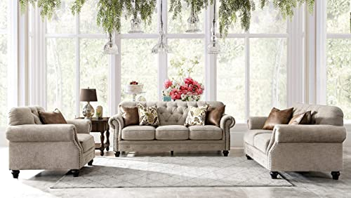 Acanva Luxury Chesterfield Chenille Diamond Tufted Living Room Sofa