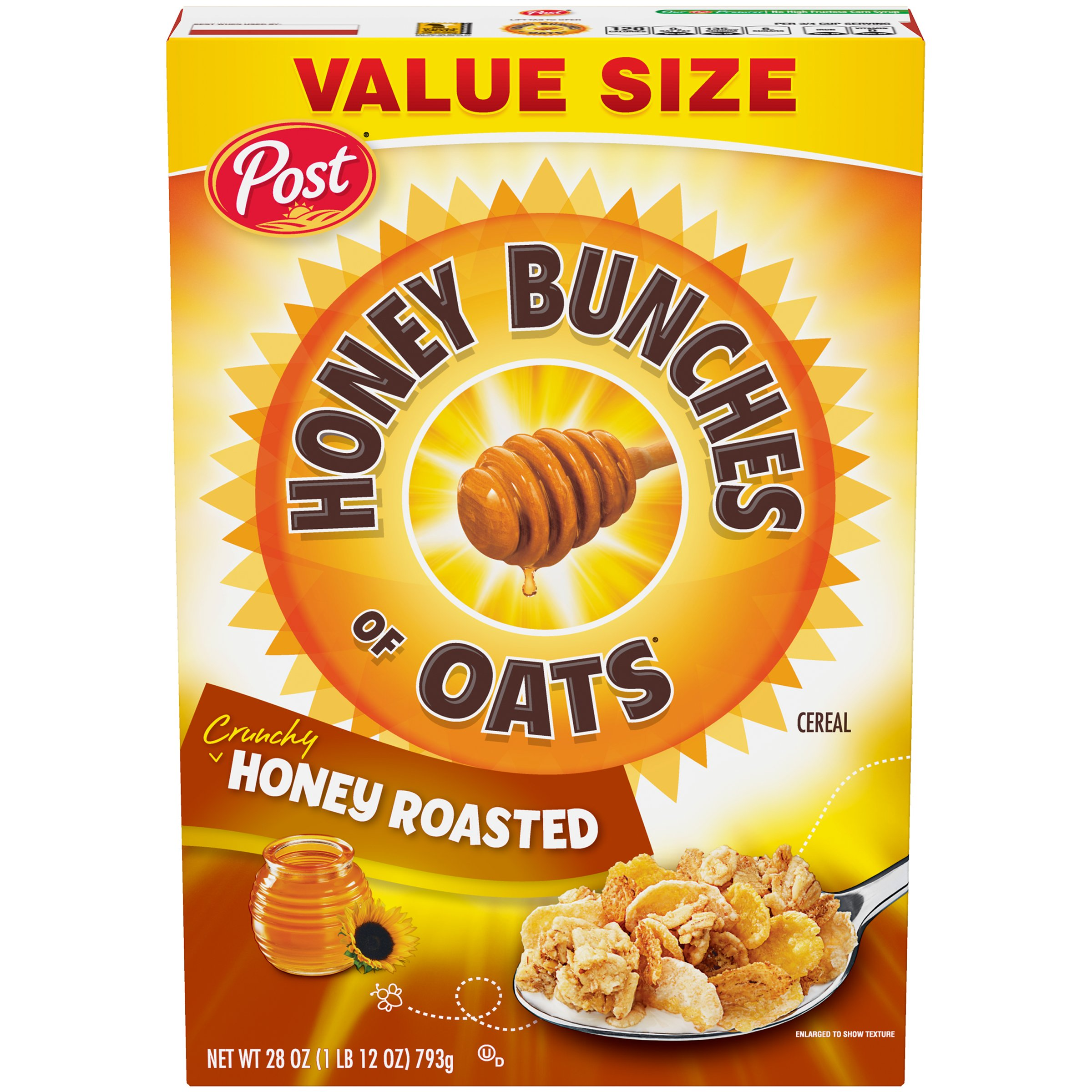 Honey Bunches of Oats Honey Roasted, Heart Healthy, Low Fat, made with Whole Grain Cereal, 28 Ounce Box