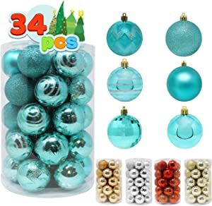 "Joiedomi 34 Pcs Christmas Ball Ornaments, Shatterproof Christmas Ornaments for Holidays, Party Decoration, Tree Ornaments, and Special Events (Teal, 2.36"")"