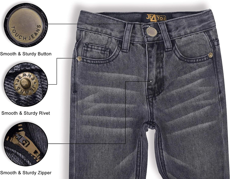 blu in vita regolabile elasticizzati colore antracite sbiadito Jeans da ragazzo per bambini dai 2 ai 3 4 5 6 7 8 9 10 11 12 13 14 15 16 anni grigio justfound4u denim