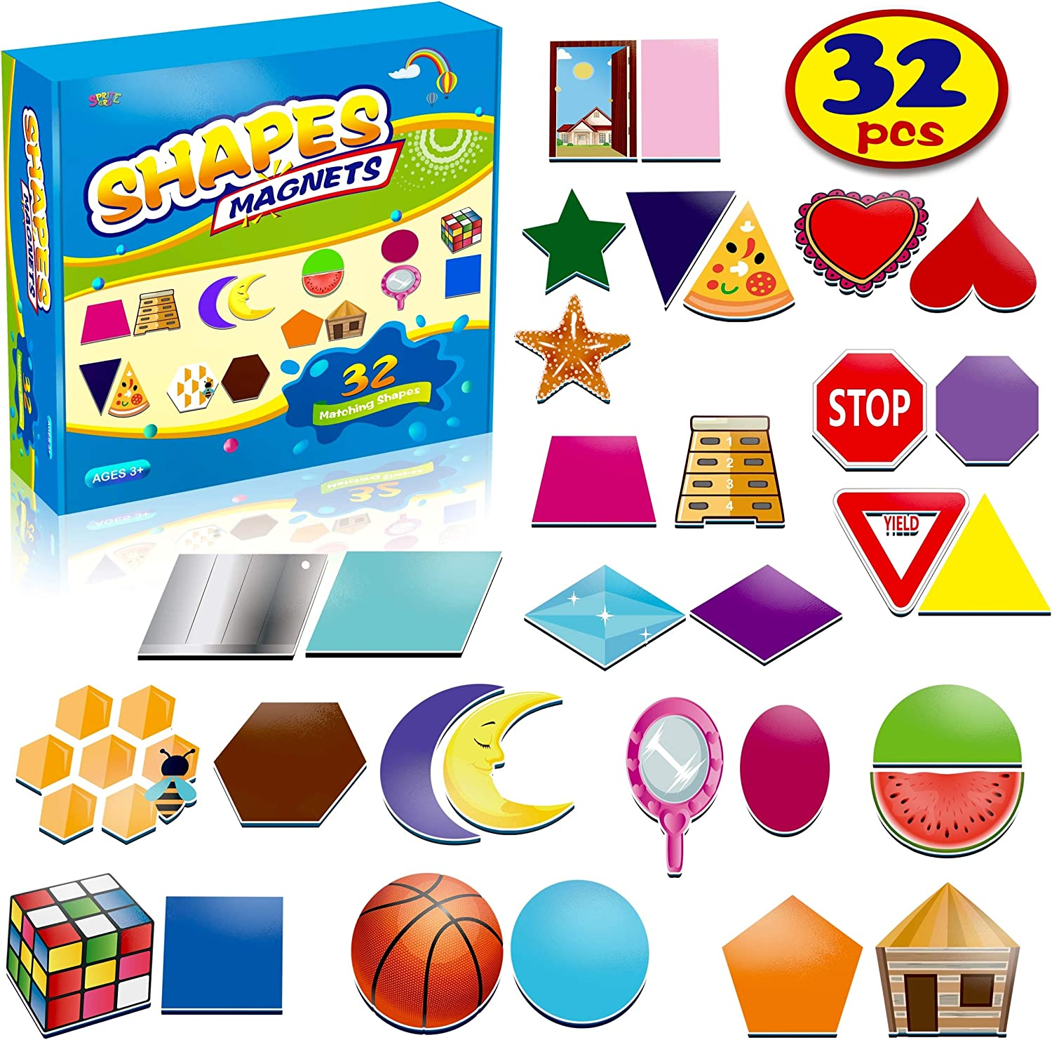 SpriteGru 32 Shape and Color Magnets with Real World Objects for Comparison & Associative Memory, Perfect for Preschool Learning