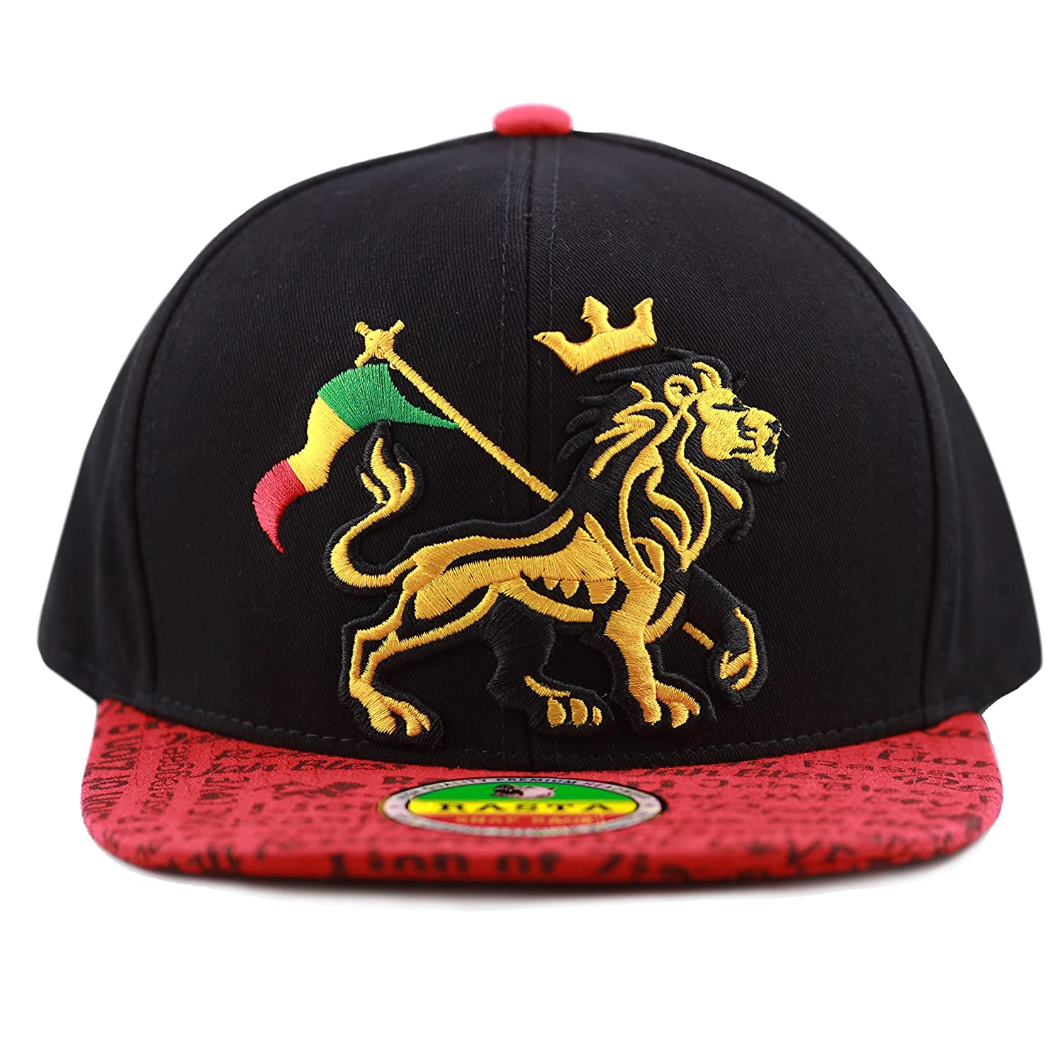 Amazon.com  THE HAT DEPOT 1100 Rasta Lion of Zion 3D Embroidered Flat Bill  Snapback Cap Hat (Black Red)  Clothing 54e80e416809