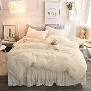 MUKKA Longfur Faux Fur Duvet Cover Set Queen, 3 Pieces Shaggy Bedding Set (1 Faux Fur Duvet Cover + 2 Ball Fringe Pillow Shams) Luxury Plush Cream White, Zipper Closure