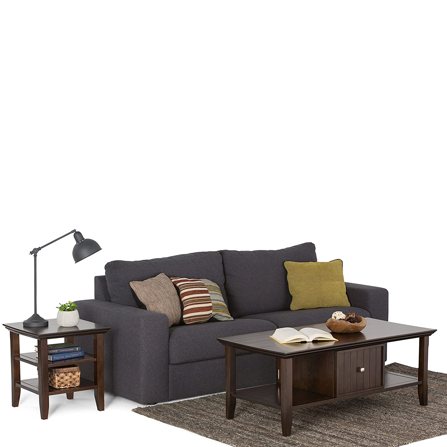 Simpli Home AXWELL3-007 Acadian Solid Wood 36 inch wide Square Rustic Square Coffee Table in Tobacco Brown Ltd.