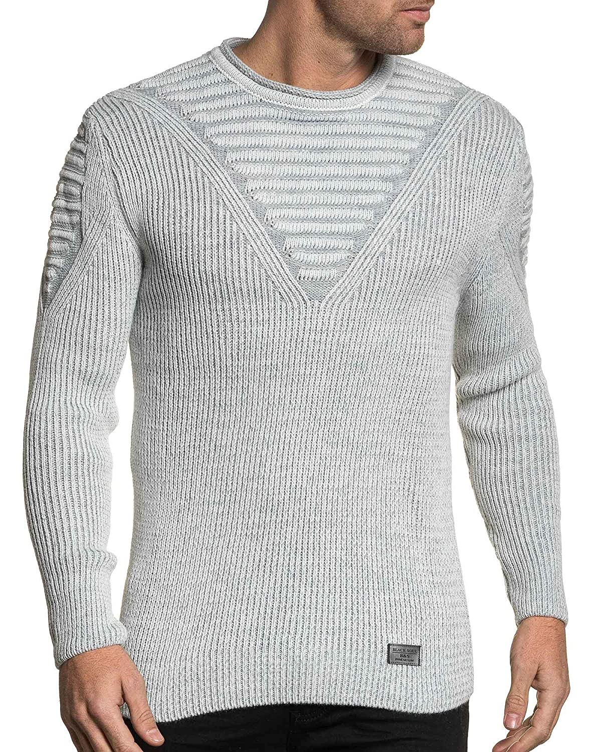BLZ jeans - white sweater ribbed crew neck Men