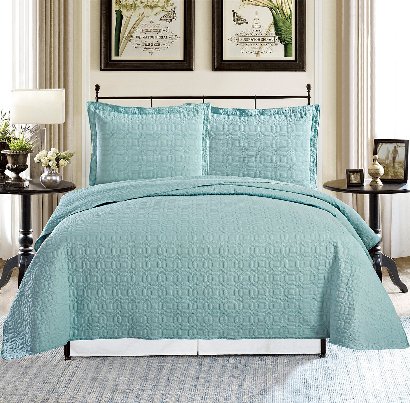 All American Collection New 3pc Square Design 100% Cotton Coverlet Set Queen Oversize, Turquoise