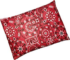 """Microwavable Corn Filled Heating Pad and Cold Pack/Washable 100% Cotton Cover (7.5""""Wx11""""L, Bandana - Shiny Red)"""