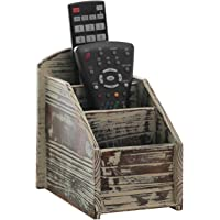 Deals on MyGift 3 Slot Rustic Torched Wood Remote Control Organizer