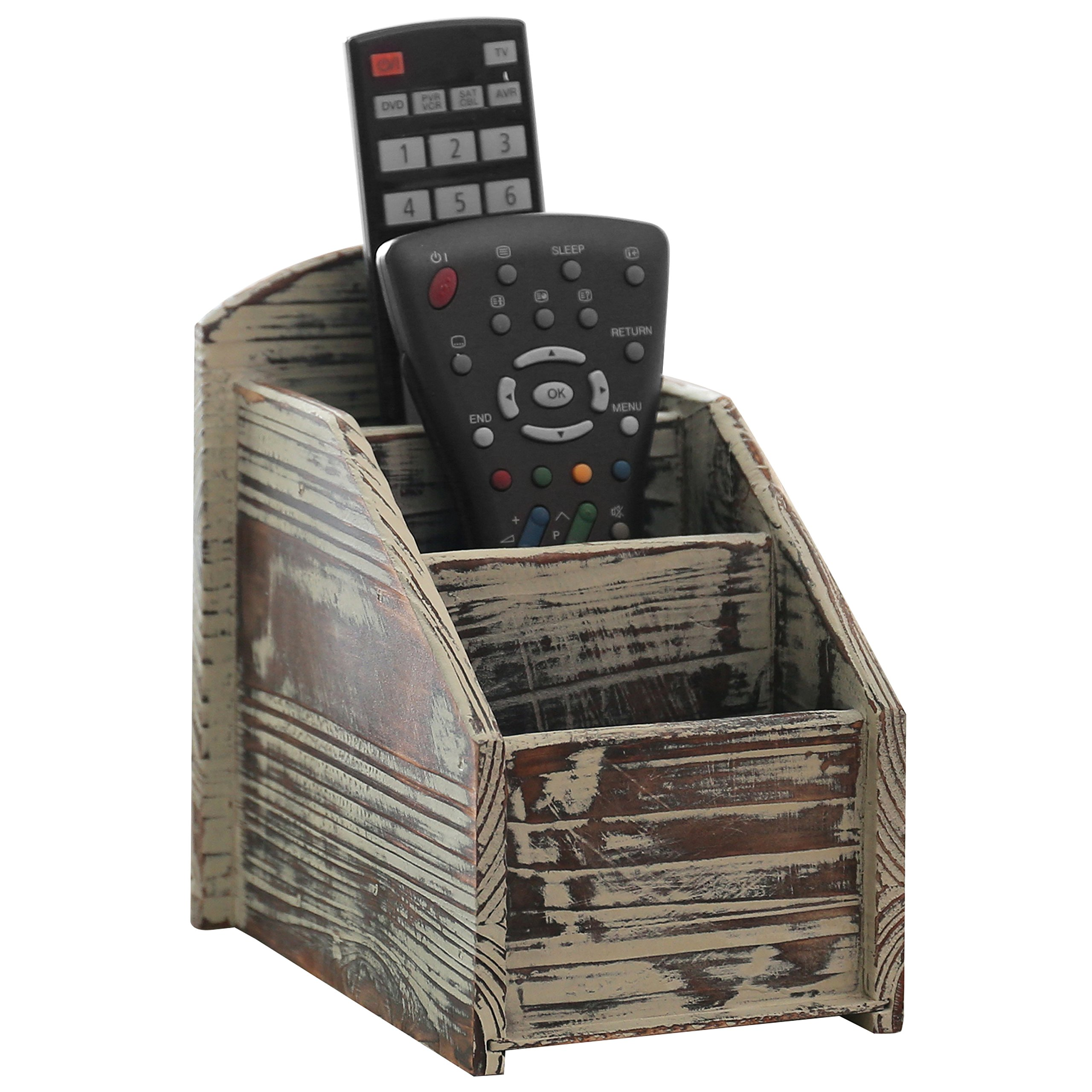 3 Slot Rustic Torched Wood Remote Control Caddy/Media Organizer, Storage Rack by MyGift