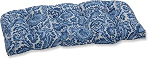 """Pillow Perfect Outdoor/Indoor Tucker Resist Azure Tufted Loveseat Cushion, 44"""" x 19"""", Blue"""