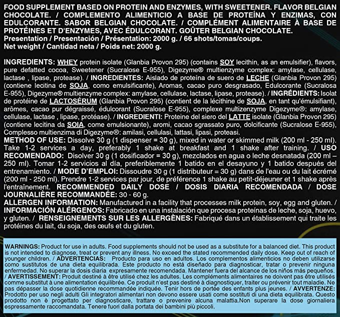 Life Pro Isolate Zero 2Kg   Suplemento Deportivo de Aislado de Proteína de Suero 87%, Mejora Rendimiento Físico y Recuperación, Sabor Belgian ...