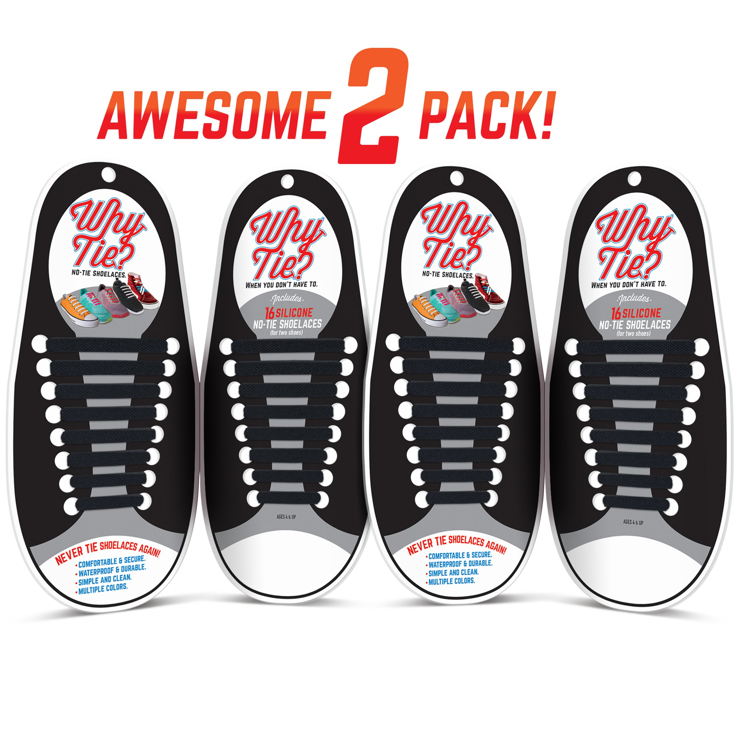 WHY TIE? No-Tie Silicone Shoelaces for Sneakers; Black; 2-Pack
