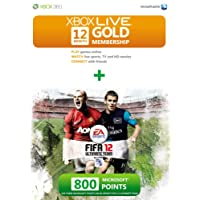 Xbox Live Gold membership for 12 month with 800 bonus points - FIFA 12 branded (Game not included) (Xbox 360)