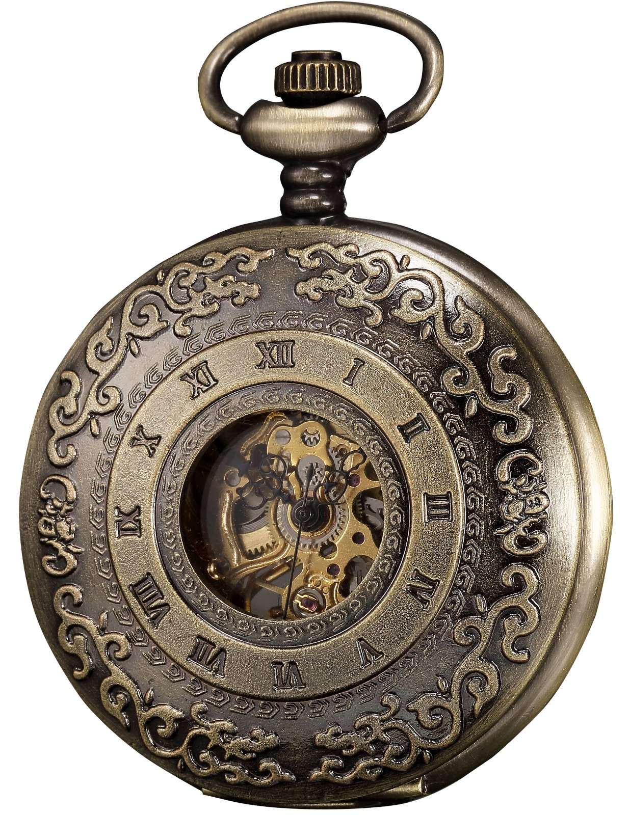 KS Half Hunter Mechanical Pocket Watch Roman Number Half Hunter Antiqued Bronze Case KSP043