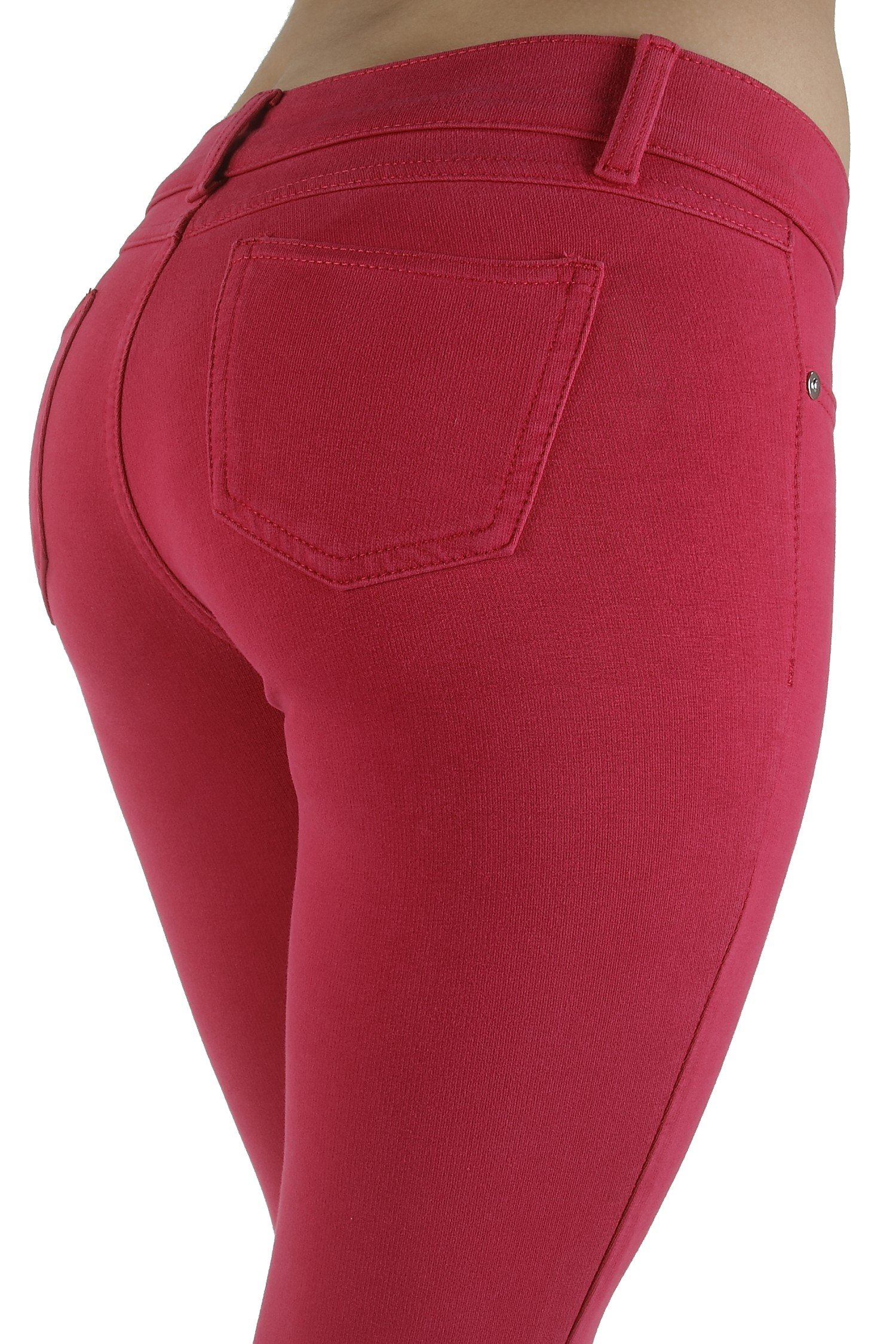 Basic pants skinny leg French Terry Jeggings style Moleton, With a gentle butt lifting stitching in Magenta Size S