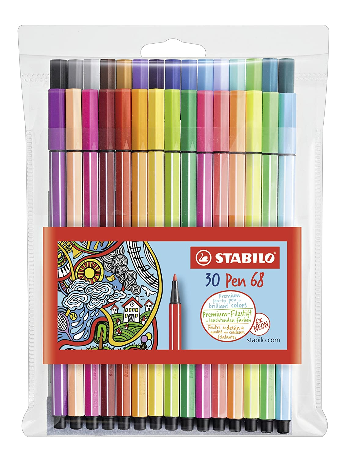 Stabilo Pen 68 Coloring Felt-tip Marker Pen, 1 mm - 30-Color Wallet Set MacPherson's SW6830-1