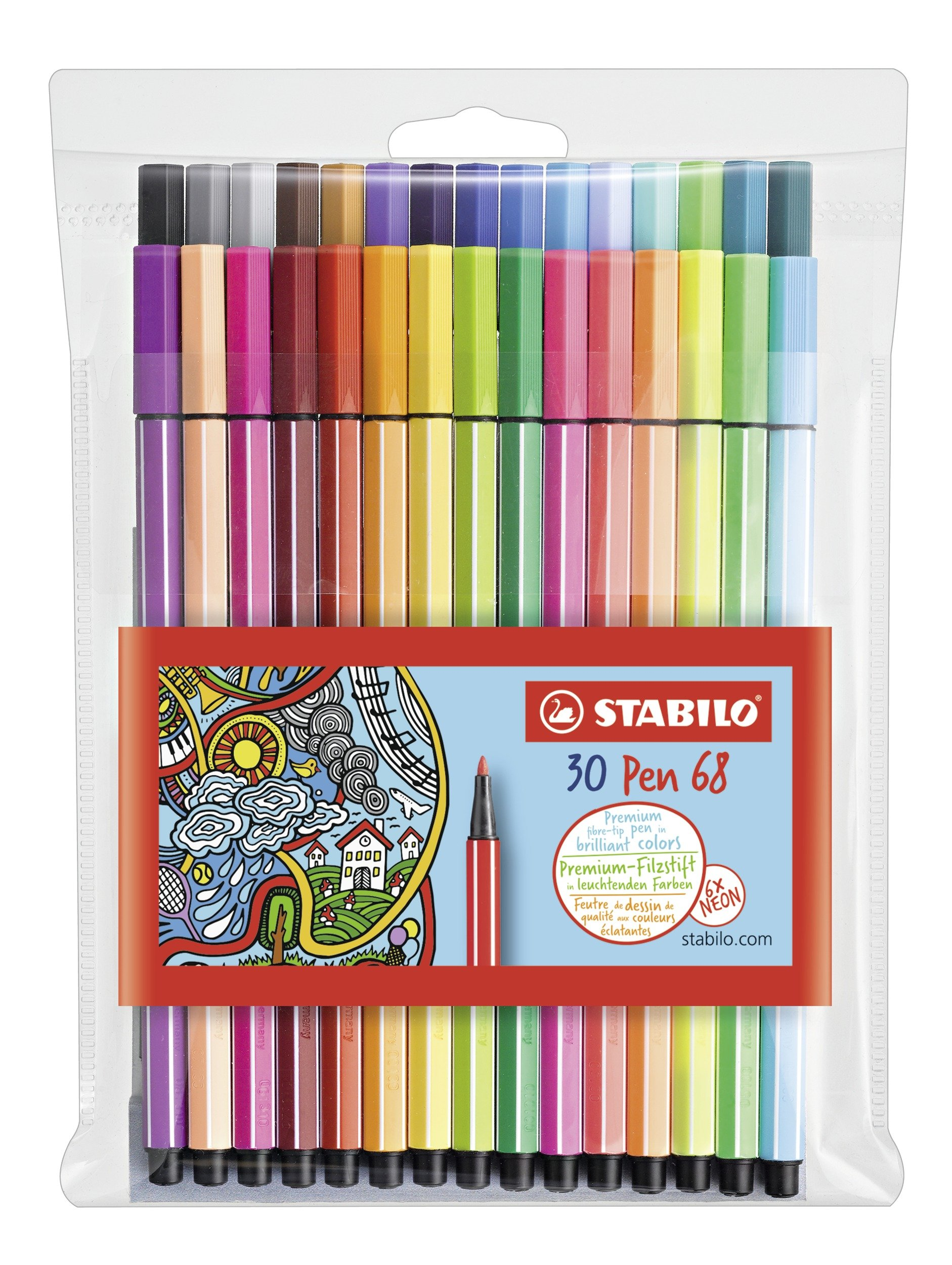 Stabilo Pen 68 Coloring Felt-tip Marker Pen, 1 mm - 30-Color Wallet Set by STABILO