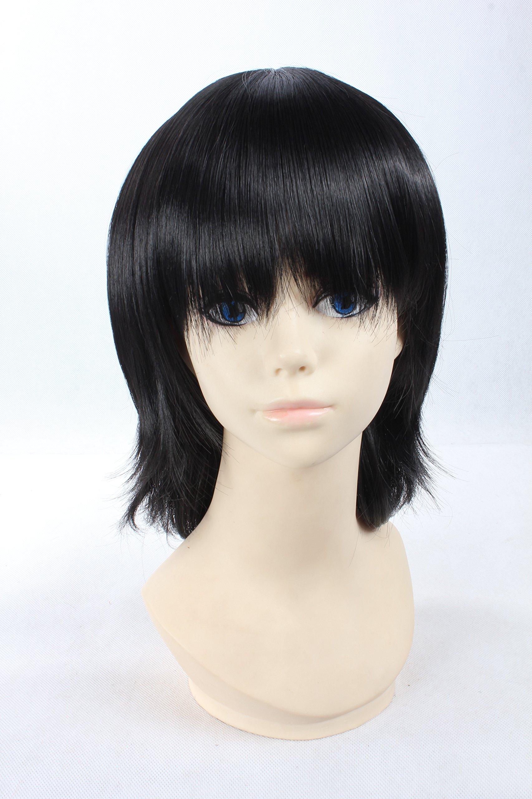 Coolsky Wigs BLEACH Nurarihyon no Mago Touhou Project Short Black Hair Cosplay