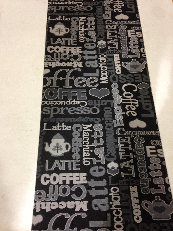 Tappeto cucina 67 X 300 caffè coffe caffe nero grigio lavabile in ...