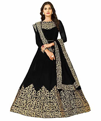 66d772b0f9 FKART Women's Georgette Semi-Stitched Anarkali Salwar Suit with Dupatta  (1701coding_var1, Black,