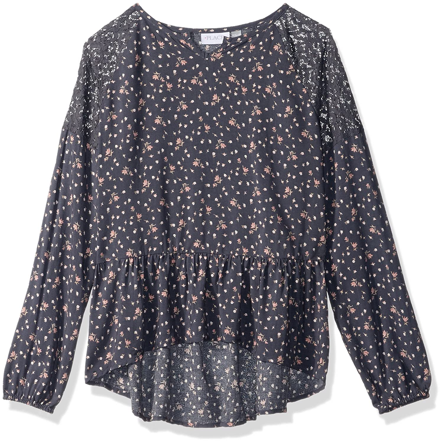The Childrens Place Big Girls Peplum Long Sleeve Tunic Top
