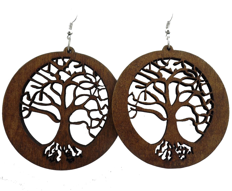Tree Of Life Earrings Wood Earrings Tree Earrings Wooden Earrings Circle Of Life