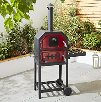 88f48121a4bc NEW Tesco Multifunction Charcoal Pizza Oven with Side Shelf - Red & Black