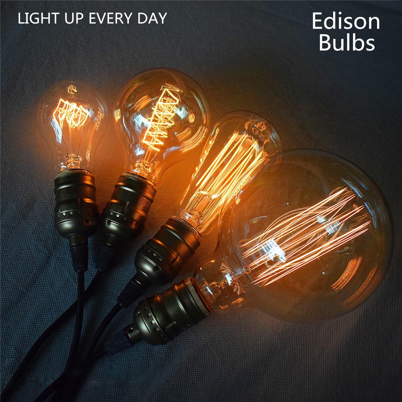 KJLARS Vintage Edison Glühbirne Glühlampe E27 60W G125 gerader ...