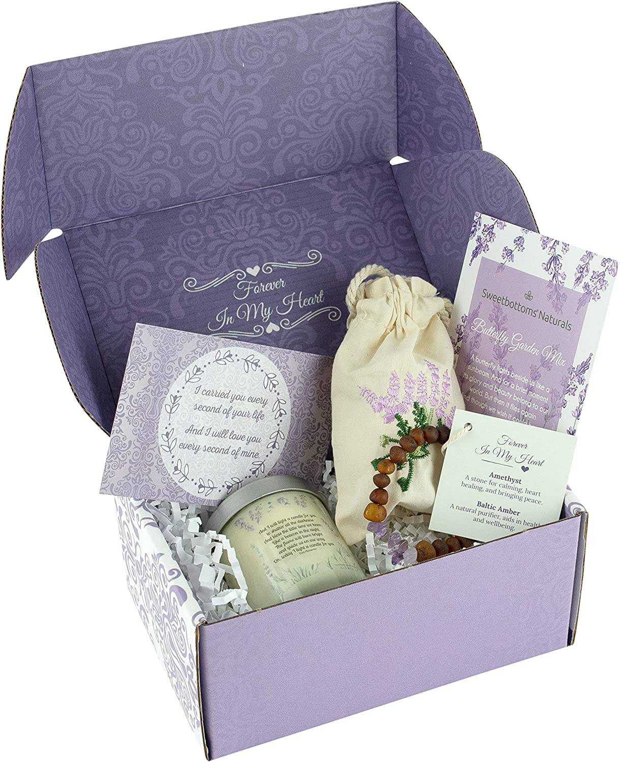 """Unique Memorial Gift for Loss of a Loved One - Express Your Sympathy 4-Piece Gift Set with Mini Candle, Remembrance Jewelry, Flower Seeds, Card & Gift Box - Uplifting """"In Loving Memory"""" Gift"""