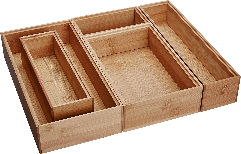 B0017JIJCY Lipper International 88005 Bamboo Wood Drawer Organizer Boxes, Assorted Sizes, 5-Piece Set 91Vy2B66NAAL