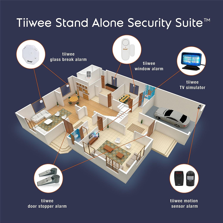 tiiwee Alarma de Ventana y de Puerta 120dB Seguridad en el hogar - Pilas Incluidas - Juego de 2 alarmas