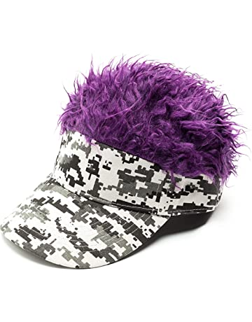 d5e1242203574e MILANMOOD Novelty Sun Cap Wig Peaked Adjustable Baseball Hat with Spiked  Hairs