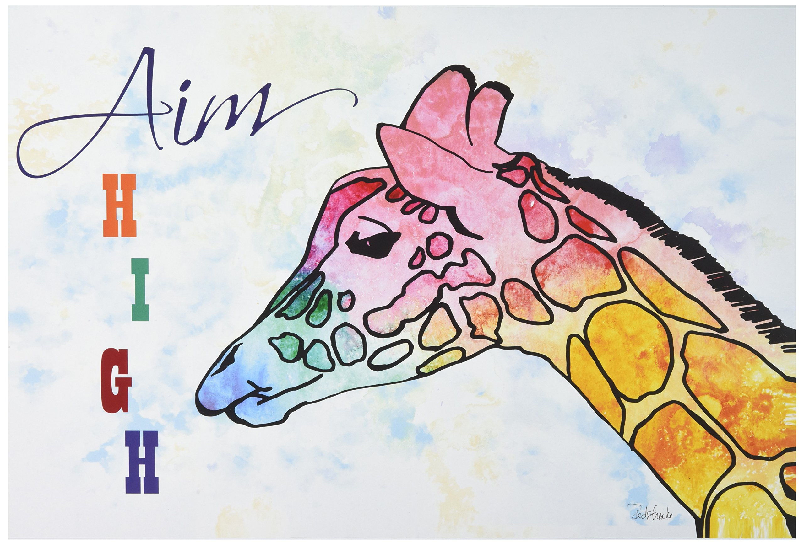 Stupell Home Décor Watercolors Aim High Giraffe Wall Plaque Art, 10 x 0.5 x 15, Proudly Made in USA by The Kids Room by Stupell