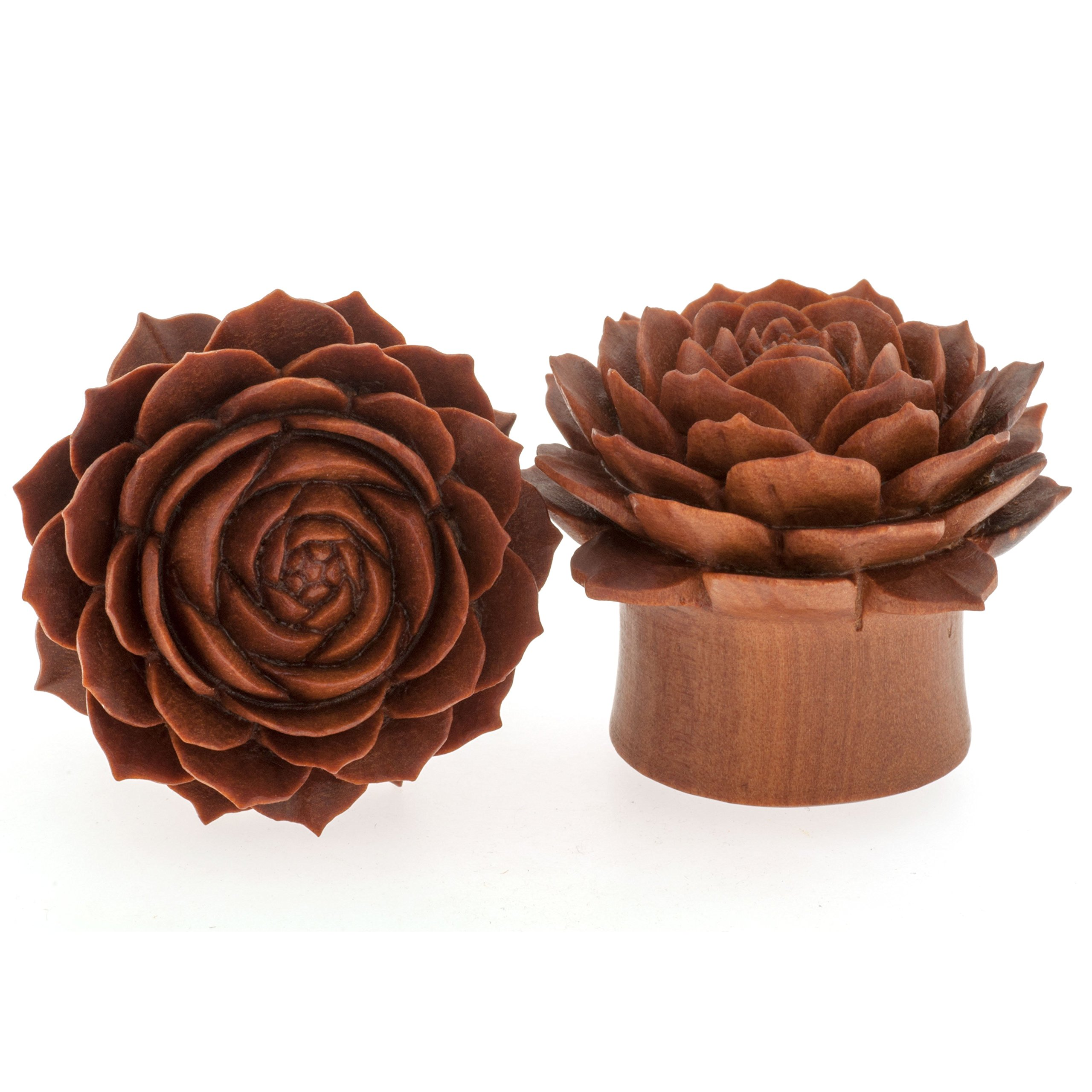 Pair of Sabo Wood Double Flared Lola Plugs: 1''