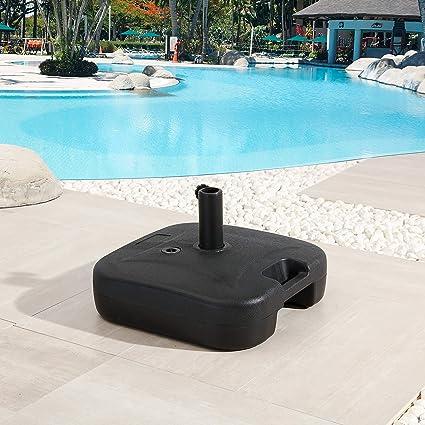 Amazon Com Lokatse Home Outdoor Stand Fillable Water Plastic Square Base For Patio Umbrella Black Garden Outdoor