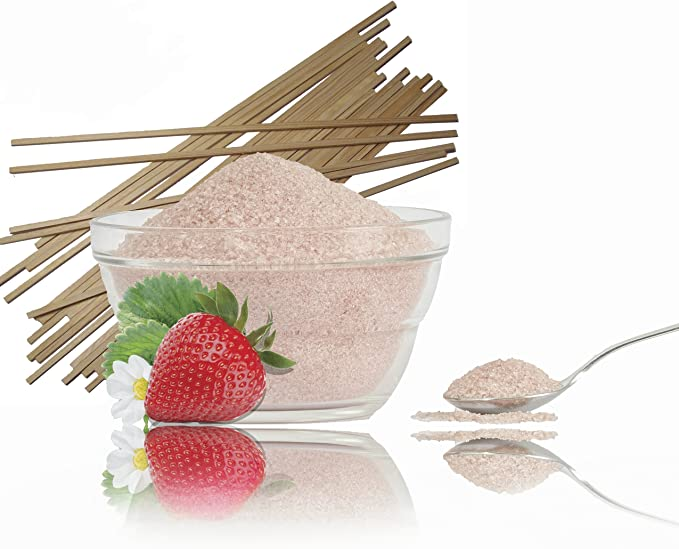 funfood4you 1 kg de azúcar de Fresa Rojo más 50 Varillas de ...