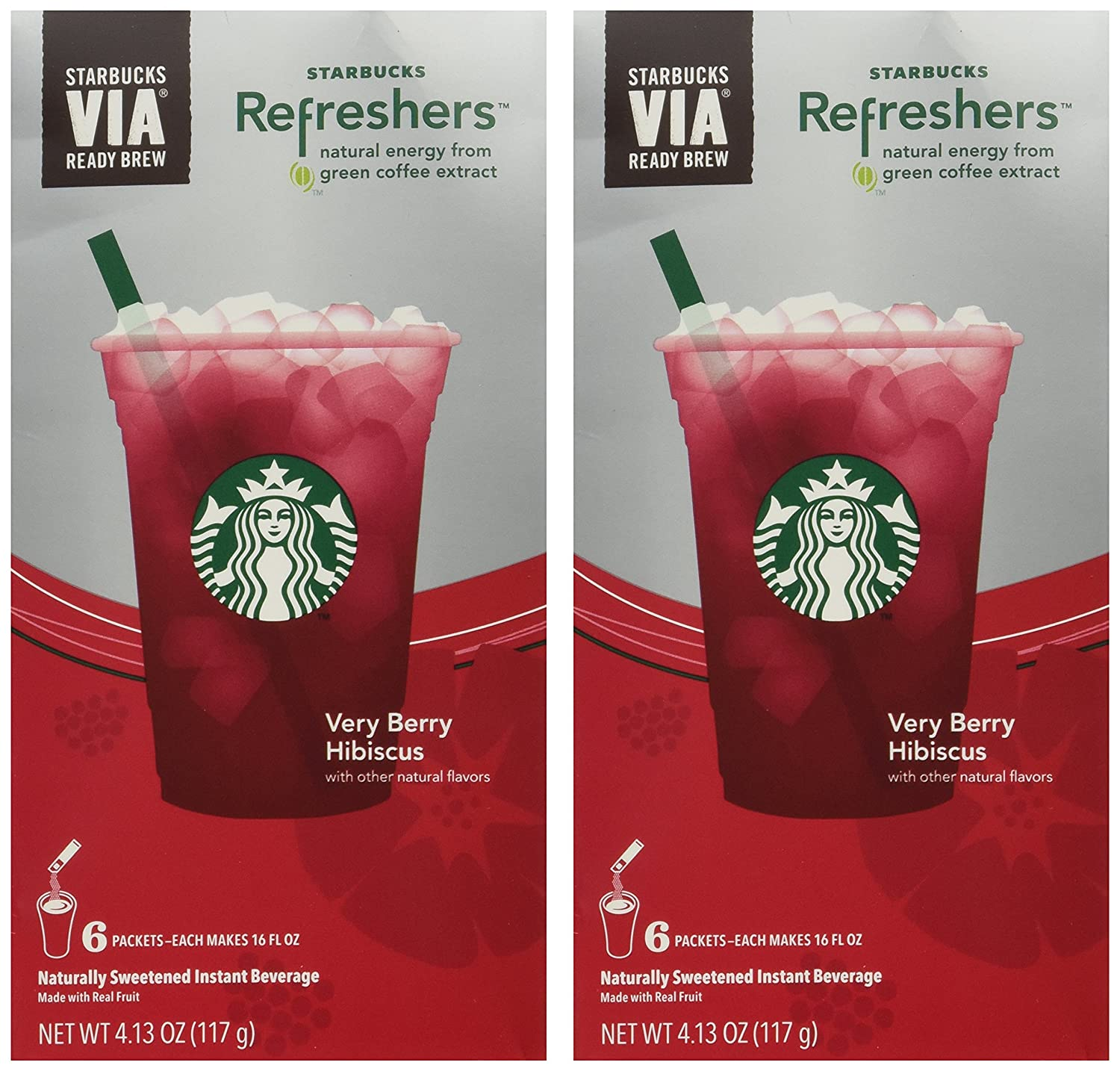 Starbucks Via Instant Refreshers Very Berry Hibiscus 6 Packets Pack Of 2