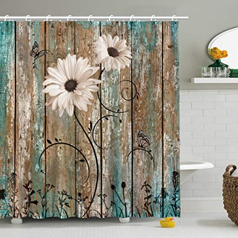 Amazon Com Stacy Fay Rustic Shower Curtain Floral Barnwood Fabric Bathroom Curtain Home Decoration Set With Hooks Old Wooden Garage Door American Native Country Farm Style Artwork 72x72 Inches Machine Washable Kitchen