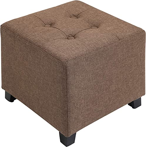 HOMCOM Tufted Ottoman Linen-Touch Fabric Upholstered Footrest Stool