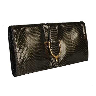 6ead68d5e33c Amazon.com: Gucci Women's Deep Olive Green Python Skin Clutch Handbag Bag:  Shoes