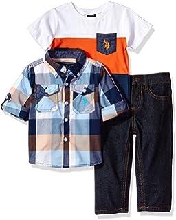 8c7472d90 Amazon.com  U.S. Polo Assn. Baby Boys  Striped V-Neck T-Shirt and ...