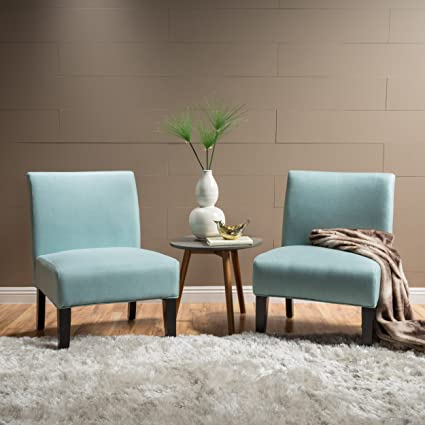 Amazon.com: Kendal Light Blue Fabric Accent Chair (Set of 2 ...